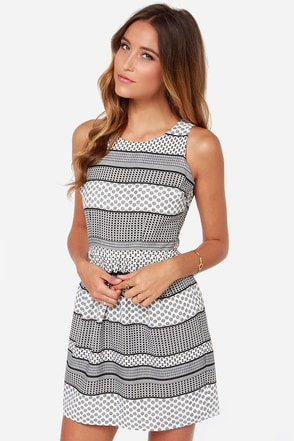 Jack by BB Dakota Lola Black and White Print Dress
