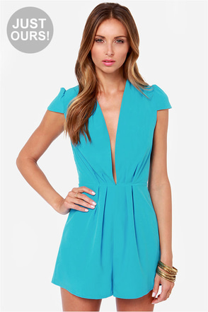LULUS Exclusive Feeling Flirty Bright Blue Romper