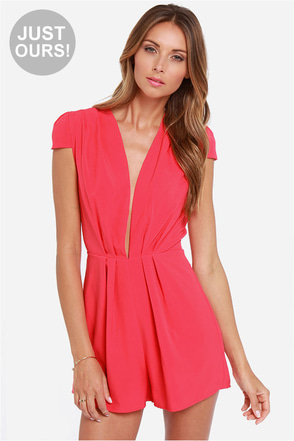 LULUS Exclusive Feeling Flirty Coral Romper