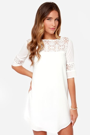 BB Dakota Devera Ivory Lace Shift Dress