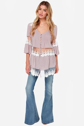 Ain't It Fun Taupe Lace Tunic Top