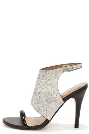 Report Signature Olaf White Crackle High Heel Sandals