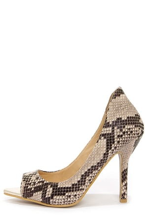 C Label Luxe 19 Beige and Black Snakeskin Peep Toe Pumps