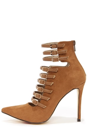 Luichiny Direct On Tan Strappy Pointed Toe Booties at Lulus.com!
