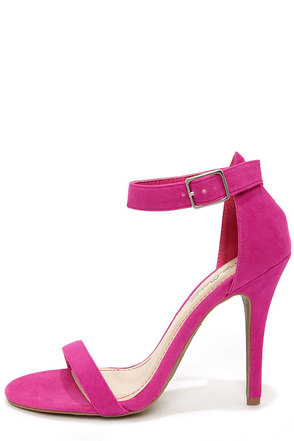 Anne Michelle Enzo 01N Magenta Suede Single Strap Heels
