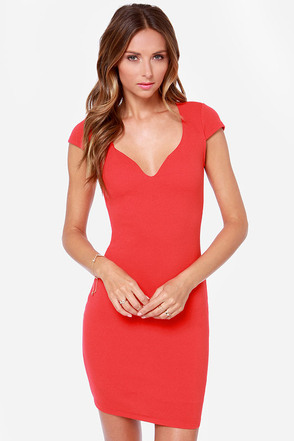Love Contours All Red Bodycon Dress