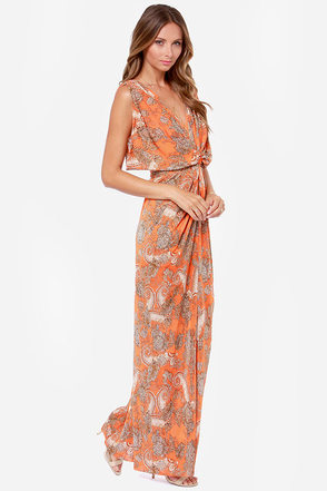 Fields of Barley Orange Print Maxi Dress