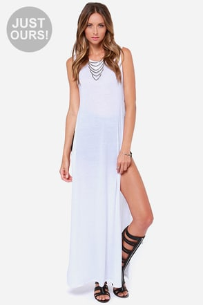 LULUS Exclusive Long Number White Maxi Top