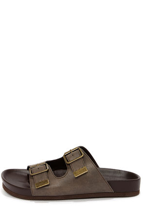 Soda Jagger Taupe Buckled Slide Sandals