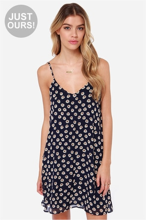LULUS Exclusive American Floral Story Navy Daisy Print Dress