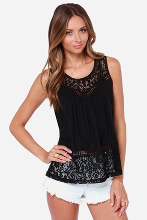 Laced But Not Least Black Lace Top
