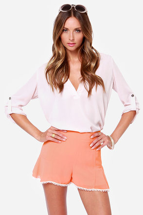 Scallop for Adventure Coral High-Waisted Shorts