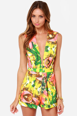 Mary Luau Tropical Print Romper