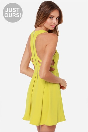 LULUS Exclusive Bright On Point Chartreuse Dress