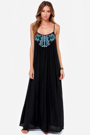Grecian Grotto Black Maxi Dress