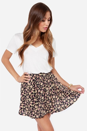 Fleur-tatious Side Navy Blue Floral Print Skirt