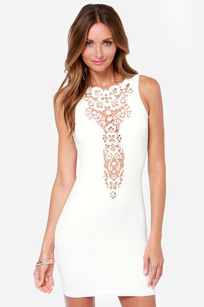 One Rad Girl Eliana Backless Ivory Lace Dress
