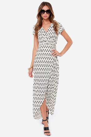 Shapes Travel Black and Cream Wrap Dress