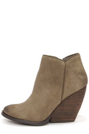 Very Volatile Whitby Khaki Suede Leather Wedge Booties
