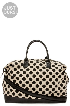 LULUS Exclusive Dotty By Nature Black Polka Dot Weekender Bag