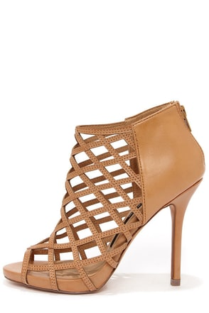 Kensie Biggie Tan Leather Latticework Heel Booties