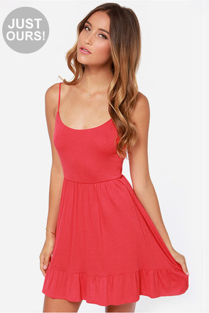 LULUS Exclusive Steal A Glance Coral Red Dress