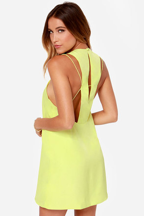 Keepsake Countdown Chartreuse Yellow Tank Dress
