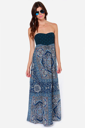 Roxy Super Nova Strapless Blue Print Maxi Dress