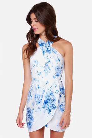 Keepsake Real Love Blue and White Print Dress