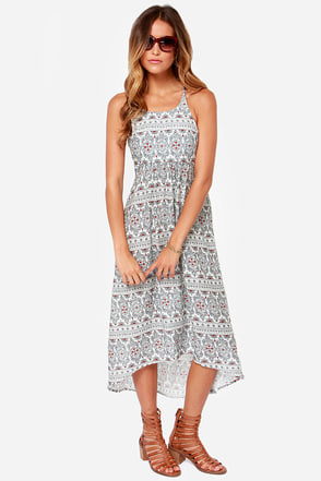 Roxy Kaleidoscope Ivory Print Midi Dress