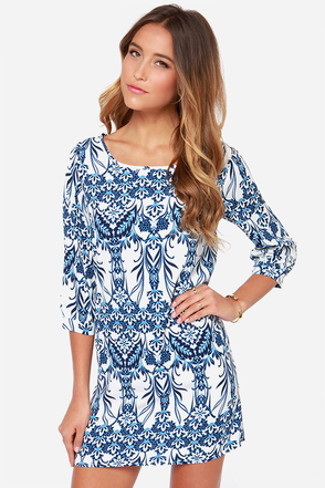 Tea Time For Two Ivory and Blue Print Shift Dress