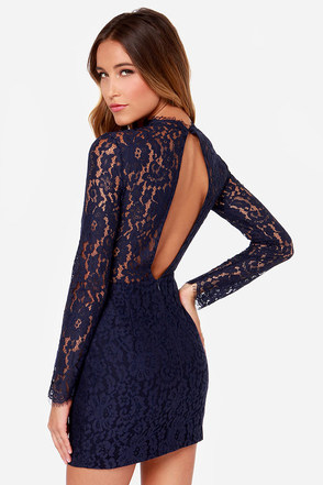 Keepsake Run the World Navy Blue Long Sleeve Lace Dress