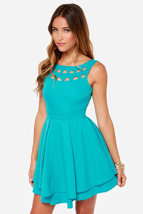 Flirting With Danger Cutout Turquoise Dress