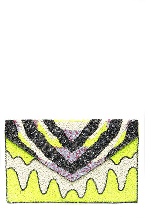 Tribal Tides Lime Beaded Envelope Clutch