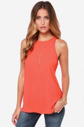 At First Crush Red Orange Top