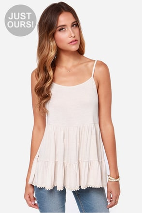 LULUS Exclusive Tri-State Flare-ea Cream Tank Top