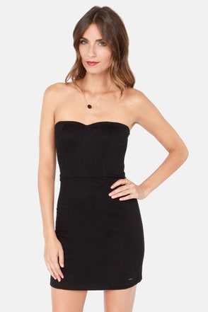 Volcom Frochickie Strapless Black Dress