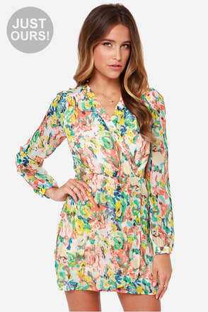 LULUS Exclusive Falling for Hue Ivory Print Wrap Dress