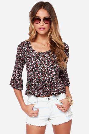 Roses and Applause Black Floral Print Top