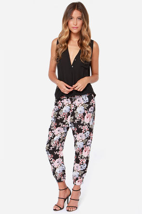 Volcom Noir Black Floral Print Harem Pants
