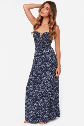 Feeling Dandy-Lions Navy Blue Floral Print Maxi Dress