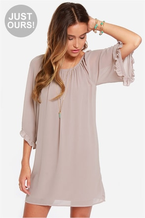 Frill for the Taking Light Taupe Shift Dress