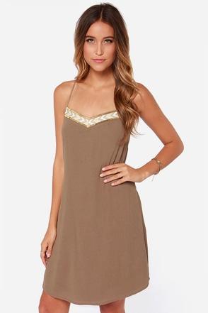 Spice Capades Beaded Brown Dress
