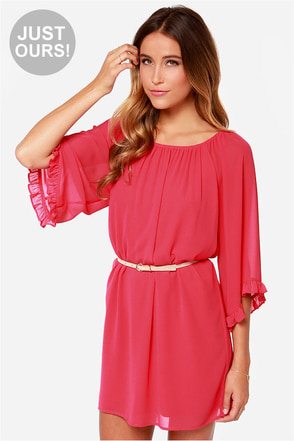 LULUS Exclusive Frill for the Taking Berry Pink Shift Dress