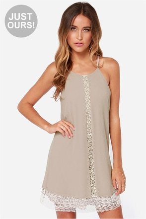 LULUS Exclusive Chai In the Sky Taupe Dress