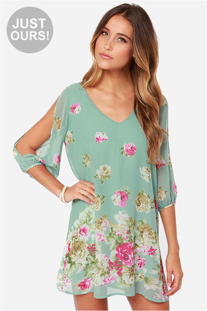 LULUS Exclusive Shifting Dears Mint Green Long Sleeve Dress