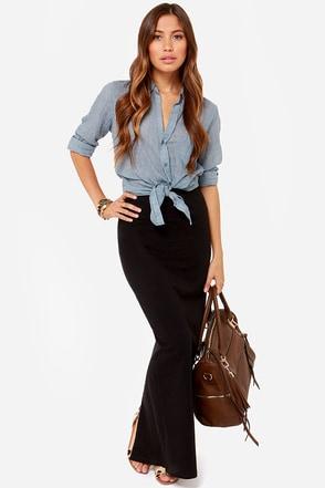 RVCA Berenice Black Maxi Skirt