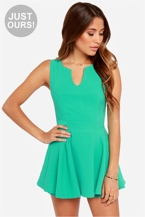 LULUS Exclusive Prep Rally Sea Green Romper
