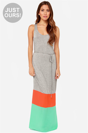 LULUS Exclusive Block-away Beach Grey Color Block Maxi Dress