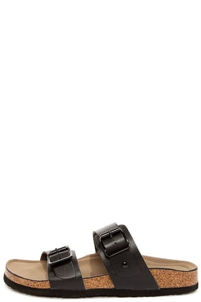 Madden Girl Brando Black Buckled Slide Sandals